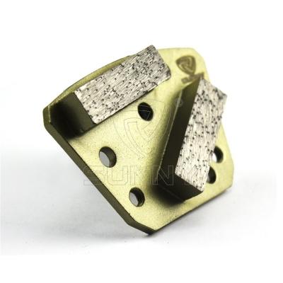 2 Segment Bars Trapezoid Diamond Grinding Shoes For Concrete Floor Grinders